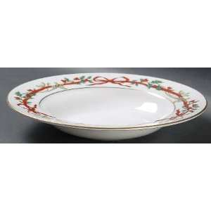 Royal Worcester Holly Ribbons Large Rim Soup Bowl, Fine China