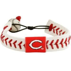 MLB Cincinnati Reds White Leather Baseball Seam Bracelet