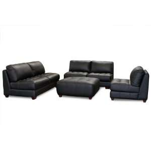 Sofa Zen Collection Armless, All Leather Tufted Seat Sofa, Loveseat
