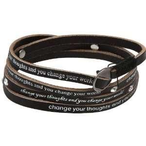 Black Leather Wrap Bracelet, Wraps 3 4 Times Around Wrist Jewelry