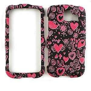 LG OPTIMUS S LS670 SPRINT Pink Hearts on Black HARD PROTECTOR COVER