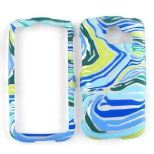 LG Optimus S LS670 Blue/Green Zebra Print Hard Case/Cover