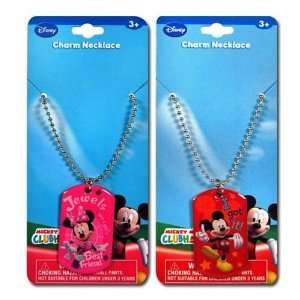 Mickey & Minnie Mouse Metal Dogtag Charm Necklaces