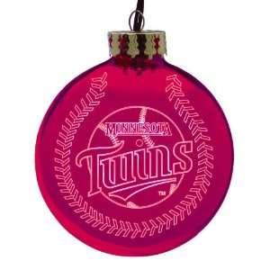 Pack of 2 MLB Minnesota Twins Glass Ball Christmas