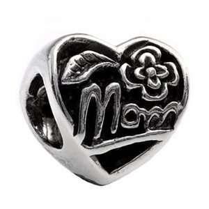 SILVERADO MOM Heart 925 Sterling Bead fits European Charm Bracelet