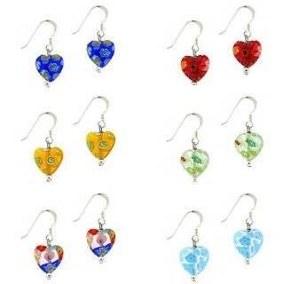 Murano Glass Bead Multi Color Millefiori Flower Heart Pendant Necklace