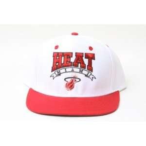 New Adidas NBA Miami Heat Script Logo Snapback Hat  White and Red