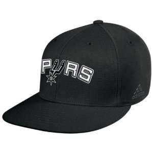 adidas San Antonio Spurs Black Basic Logo Flat Brim Flex Fit Hat
