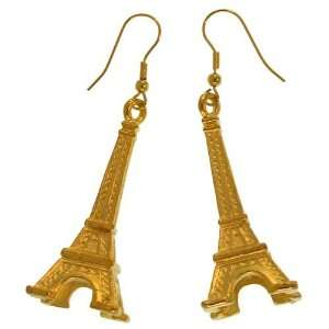 75 X 1.75 Eiffel Tower Charm Earrings Gpexclusive Usa In Gold with