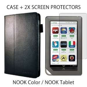 caseen SKINNY Genuine Leather Stand Case Cover (Black) + caseen 2x