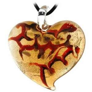 Glitter, Orange, and Brown Large Heart Silk Pendant Necklace Jewelry