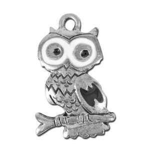 23mm Antique Silver Owl Pewter Charm with Enamel Arts