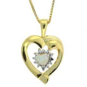 ) simulated Pearl and Genuine Diamond Accent Heart Pendant Jewelry