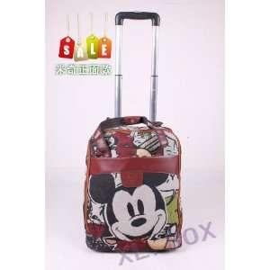 Disney Mickey Luggage Bag Trolley Roller Pink Canvas Handbag 17 Inch