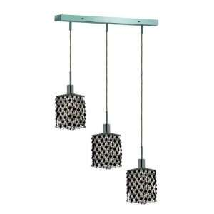 RC Mini 8 Inch High 3 Light Chandelier, Chrome Finish with Jet (Black