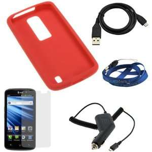 GTMax Red Soft Skin Rubber Silicone Case + Clear LCD