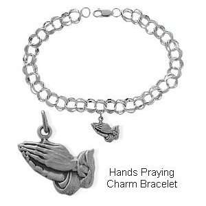 Sterling Silver Hands Praying Charm Religious Bracelet Jewelry