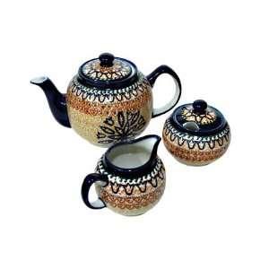 Polish Pottery Fall Moon Three Piece Tea Set