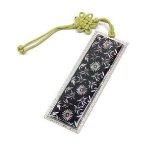 Silver J Bookmark, mother of pearl with hand knotted