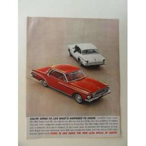 1962 Dodge Dart 440. full page print advertisement. (red car/white car