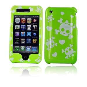 com for iPhone 3G 3GS Hard Cover Case SKULL HEART GREEN Electronics