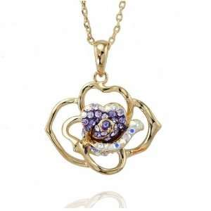 com Purple Crystal Gold Plated Flower Necklace Pendant Used Swarovski
