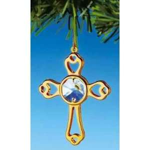 Mini Cross Swarovski Crystal 24k Gold Plated Ornament