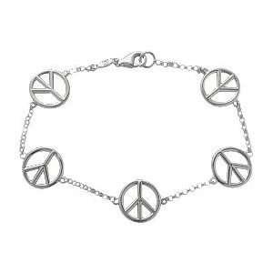 Genuine Sterling Silver 5 Peace Symbol Charm Bracelet