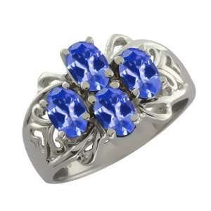 1.80 Ct Oval Blue Tanzanite Sterling Silver Ring Jewelry