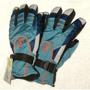 Thinsulate Insulation Ski Gloves Trio Color Blue/Grey/Black and Orange