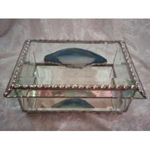 Jewelry Box   All Bevel Tiffany Still Stained Glass Art Jewelry Box Is