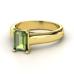 Cut Solitaire Ring, Emerald Cut Green Tourmaline 14K Yellow Gold Ring