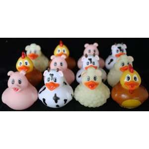 12 pc Rubber Duck Farm Animals Toys & Games