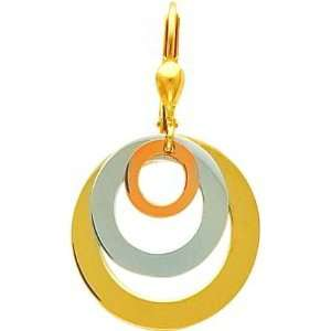 14K Tri Color Gold Circle Dangle Earrings Jewelry Jewelry
