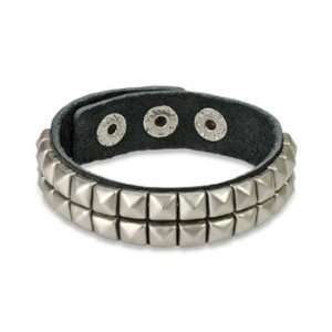 Black Leather Bracelet with Double Row Pyramid Studs Jewelry