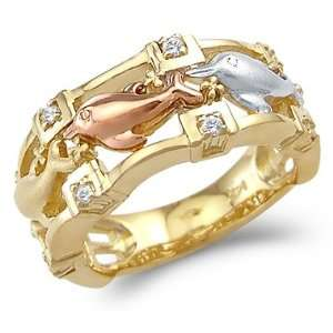 14k Tri Color Gold Unique Three Dolphins Together Ring Jewelry