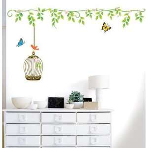 Flower & Cage Decor Mural Art Sticker Wall Paper SWST 11