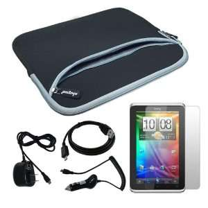 Skque Black Dual Pocket Carrying Case + Home Wall Charger