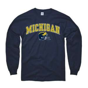 Michigan Wolverines Youth Navy Football Helmet Long Sleeve T Shirt