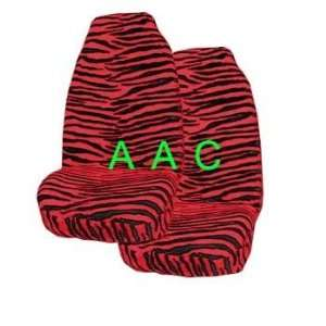 of 2 Universal fit Animal Print Front Bucket Seat Cover   Zebra Red