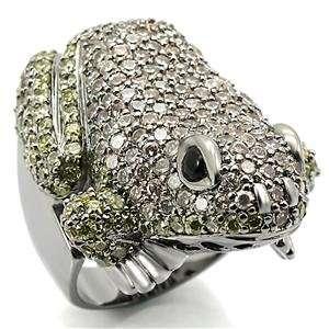 Silver Tone Cubic Zirconia Frog Ring SZ 10 Jewelry