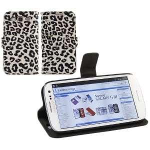 iTALKonline CREAM BLACK LEOPARD PRINT Executive Wallet Case Cover Skin