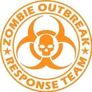 Zombie Outbreak Response Team Skull Design   9 ORANGE Vinyl Decal