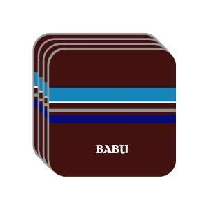 Personal Name Gift   BABU Set of 4 Mini Mousepad Coasters (blue