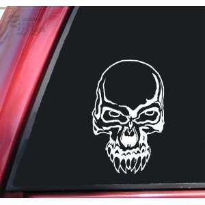 Demon Skull #2 Vinyl Decal Sticker   White: Automotive