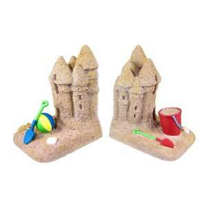 Textured Sand Castle Bookends Beach Decor Book Ends Home
