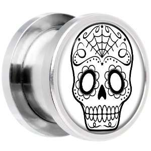 13mm Steel White Black Sugar Skull Art Screw Fit Plug