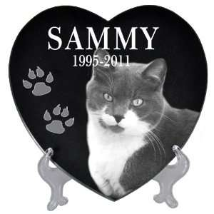 Pet Photo Laser Engraved Black Marble Heart  Large