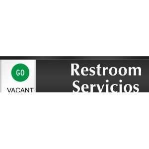 Restroom Servicios   Go/Stop Slider Sign , 10 x 2.25