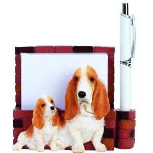 Basset Hound Dog Handpainted Magnetic Notepad Pen Holder